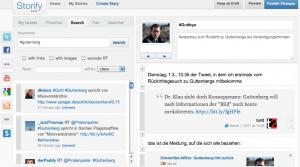 Storify-Screenshot. Links das Auswahlfenster für Web-Inhalte, rechts die eigene Story