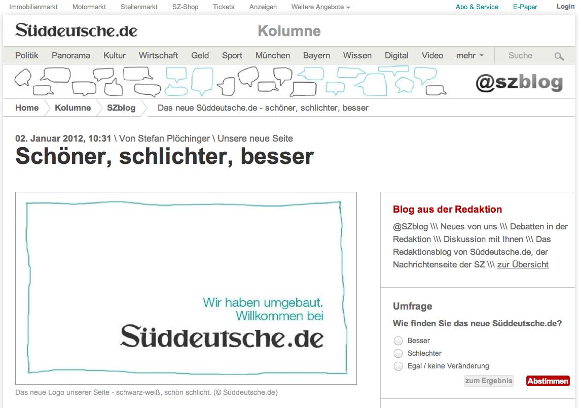 Relaunch von sueddeutsche.de Januar 2012