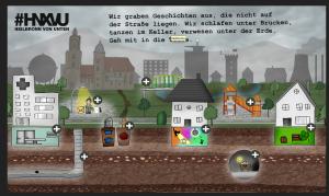 """Startseite von """"Heilbronn von unten"""": Jeder Klick bringt den Leser in die Tiefe: je nachdem, wie weit der Schauplatz unter der Erde liegt."""