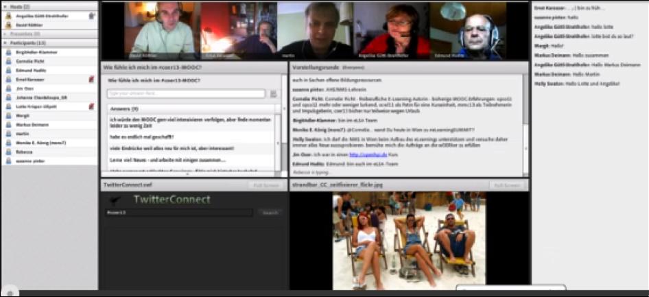Webinar mit Adobe Connect: Teilnehmer sind via Webcam sichtbar und können per Headset zu den anderen Teilnehmern sprechen.