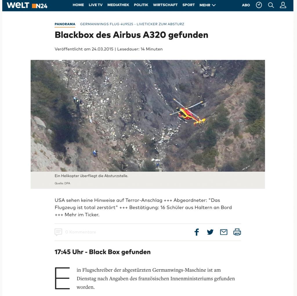 Heikles Thema: Viele Redaktionen wie welt.de begleiteten den Absturz eines Germanwings-Flugzeugs am 24. März 2015 mit einem Live-Ticker.
