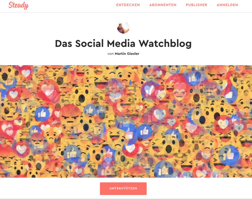 Die Steady-Kampagnen-Seite des Social-Media-Watchblogs